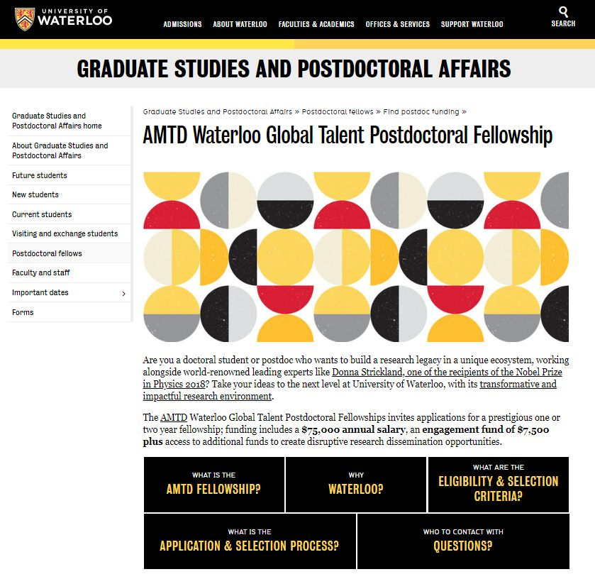 AMTD and University of Waterloo jointly launched the AMTD Waterloo Global Talent Postdoctoral Fellowship to nurture emerging scholars and promote technological innovation